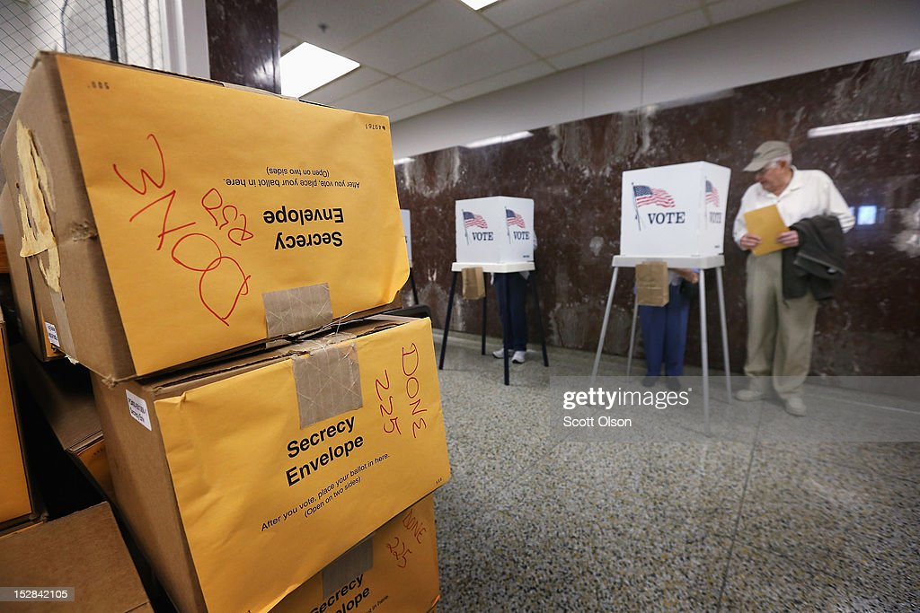 Election material is stacked against a wall during early voting at the Black Hawk County Courthouse on September 27, 2012 in Waterloo, Iowa. Early voting starts today in Iowa where in the 2008 election 36 percent of voters cast an early ballot.