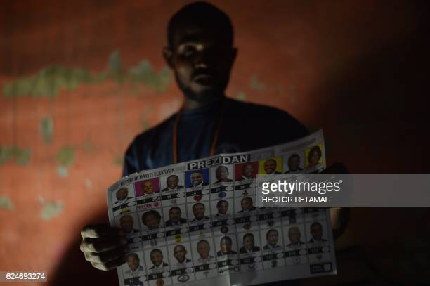 TOPSHOT Election officials count ballots at a polling station in the Roger Ladoceur School in the commune of Delmas in the Haitian capital...