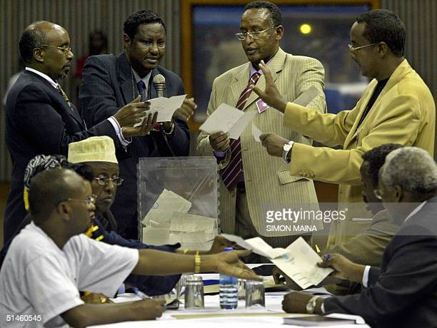 Election officials count votes 10 October 2004 during the Somalia transitional presidential election in Nairobi