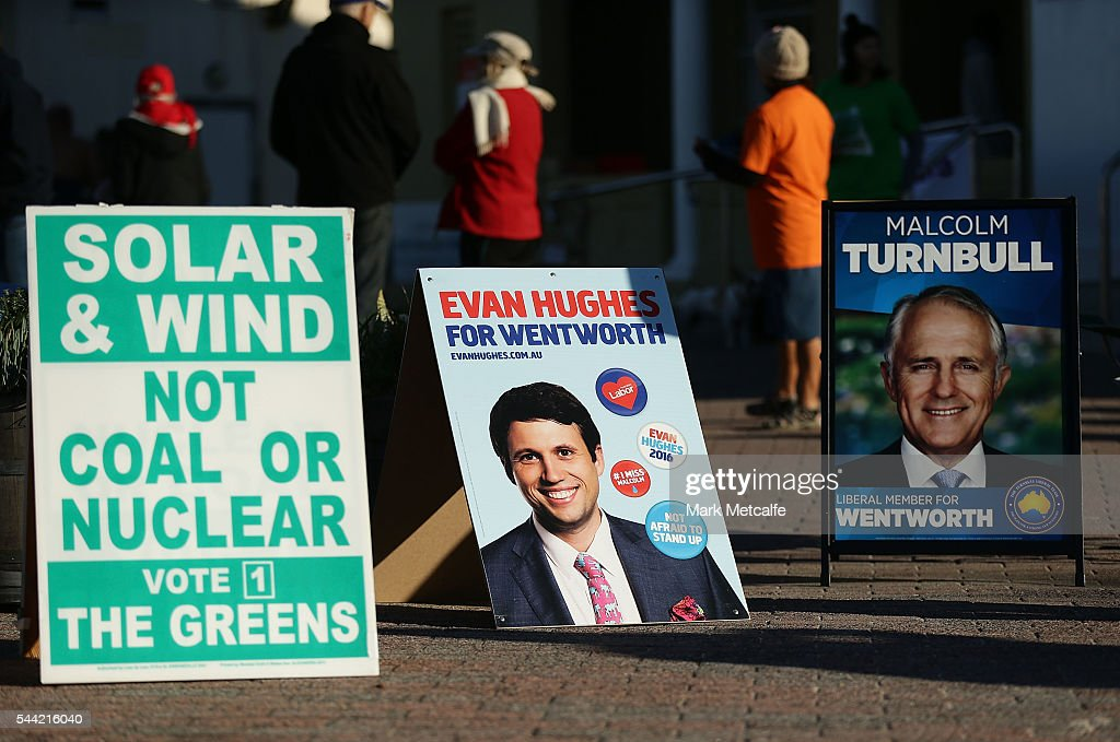 Election posters are seen at Bondi Surf Bathers' Life Saving Club in the electorate of Wentworth on July 2, 2016 in Sydney, Australia. Voters head to the polls today to elect the 45th parliament of Australia.