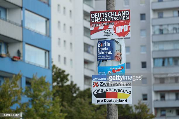 Election posters for political parties including the farright NPD and Buergerbewegung pro Deutschland as well as the rightwing populist Alternative...