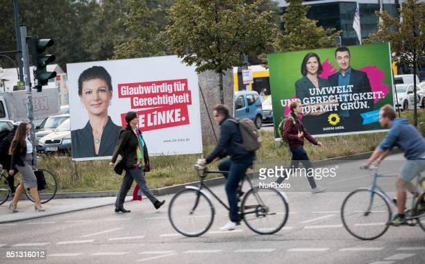 Election posters of main candidate of the leftwing party Die Linke Sahra Wagenknecht and of the green party Cem Ozdemir and Katrin GoeringEckardt are...