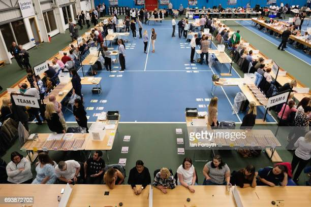Election staff take their seats before the count begins at Silksworth Community Pool Tennis and Wellness Centre on June 8 2017 in Sunderland United...