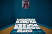 Electoral ballots representing all the parties are displayed for the press at the headquarters of the Israeli Elections Committee near the central...