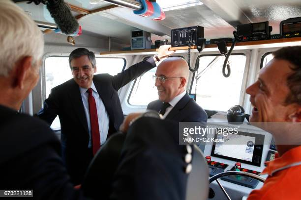 Electoral campaign of Francois Fillon for the Presidential election with Eric Ciotti and the lifeguards of the SNSM on april 17 2017 in Nice France