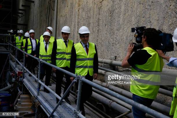 Electoral campaign of Francois Fillon for the Presidential election with Eric Ciotti Christian Estrosi and Luc Chatel visiting the site of the...