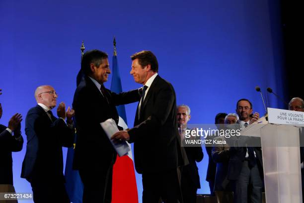 Electoral campaign of Francois Fillon for the Presidential election with Eric Ciotti and Christian Estrosi meeting at the Palais Nikaia on april 17...