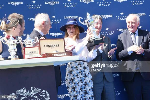 Electra Niarchos and guests attendsthe 'Prix de Diane Longines 2017' on June 18 2017 at Chantilly France