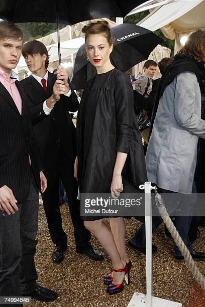 Electra Rosselini attends the Chanel Fashion show during Paris Fashion Week fall/winter 2008 at Parc de Saint Cloud on July 3 2007 in Paris France