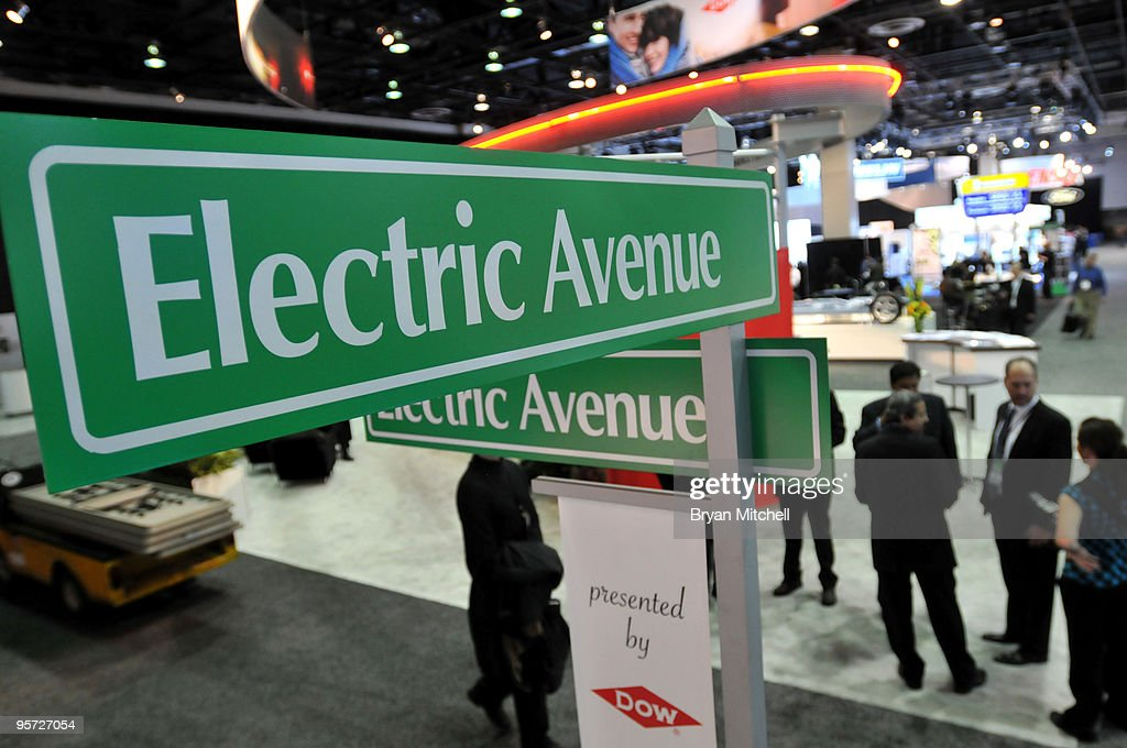 Electric Avenue on the show floor during press preview days for the world automotive media North American International Auto Show at the Cobo Center January 12, 2010 in Detroit, Michigan. The 2010 North American International Auto Show (NAIAS) opens to the public January 16th.
