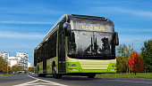 Electric bus illustration. Urban ecology green concept.