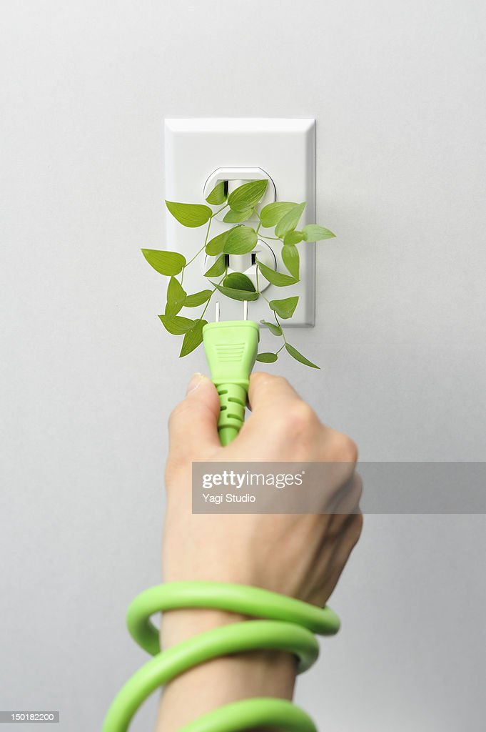 Electric cables and AC power outlet : Stock Photo