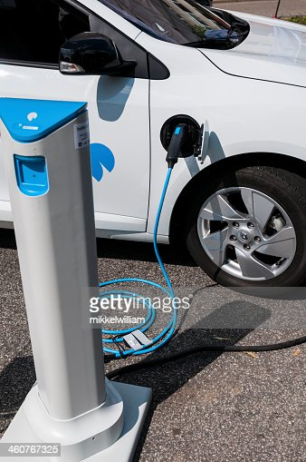Electric car is charging its batteries
