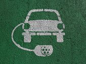 Electric car parking and charging station sign, painted on asphalt. White symbol of a car with socket plug around it on green background.