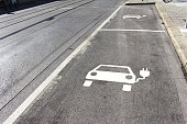 Electromobility Banner shows road sign for a electric car charging station parking slot on the road. Picture usage ideal for marketing ads: flyers, car magazine cover sheets or an template for electro
