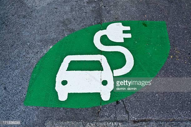 Voiture électrique Panneau, station de recharge panneau vert peint street