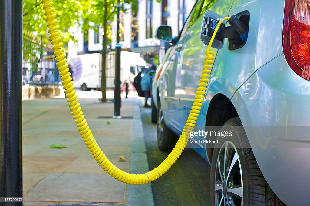 Electric car street charging point