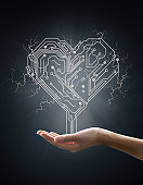 Electric energy sparks from a hand ,form of heart