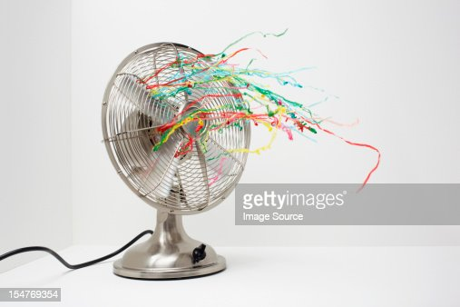 Electric fan with streamers : Stock Photo