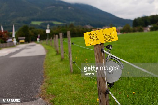Electric fence sign : Stock Photo