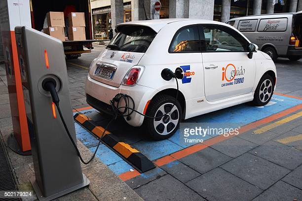 Electric Fiat 500C in network of car sharing in Torino