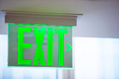 Electric green exit sign