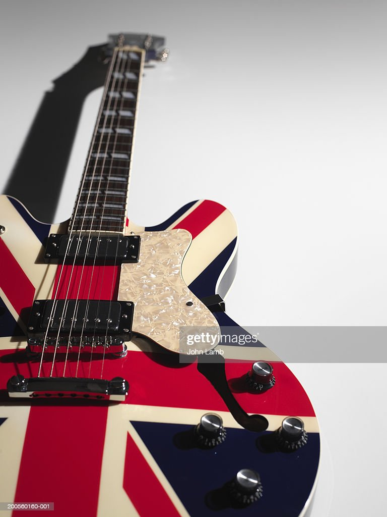 Electric guitar against white background, close-up : Stock Photo