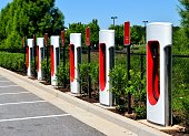 Electric car charging area background at Georgia, USA