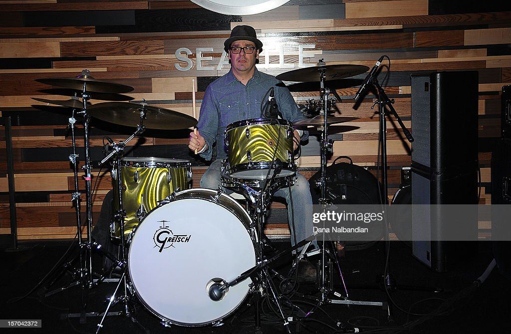 Electric Landladies drummer Michael Musburger performs at Jimi Hendrix 70th birthday party at Hard Rock Cafe Seattle on November 27, 2012 in Seattle, Washington.