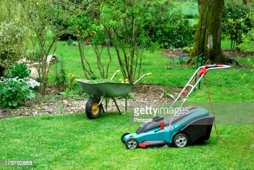 Electric Lawn Mower and Wheelbarrow in a Garden