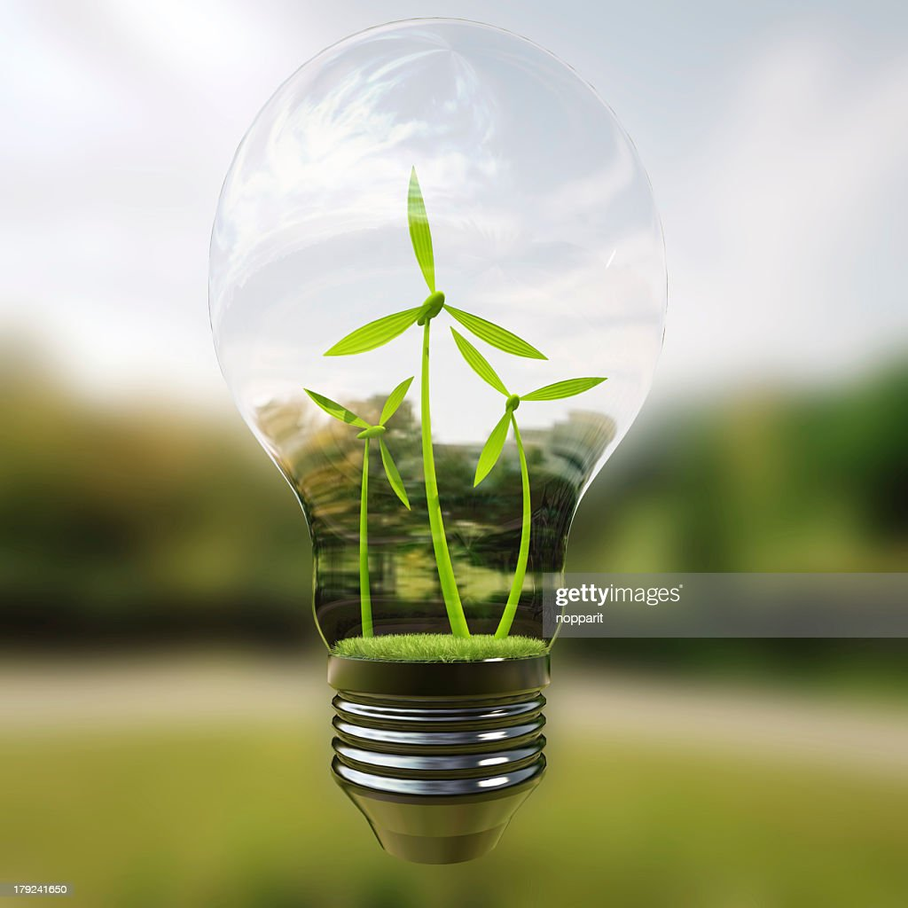Electric light bulb and wind meels.