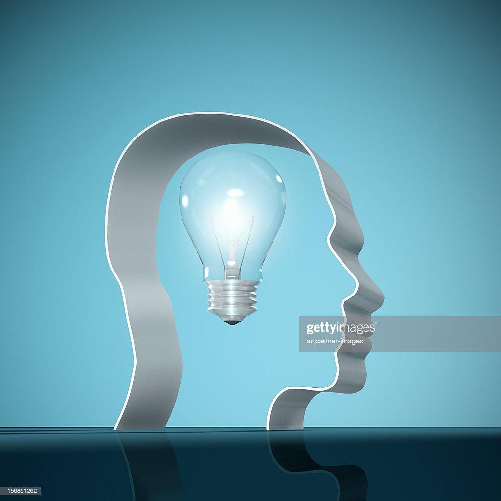 Electric Light Bulb in a human head