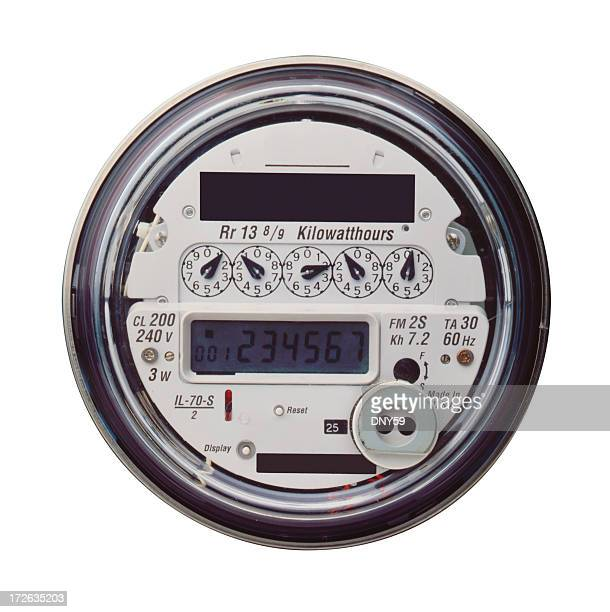 Electric meter on white background
