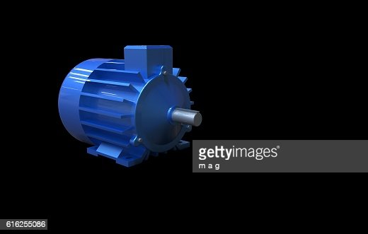 electric motor on a black background : Foto de stock