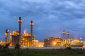 Gas turbine electric power plant in blue hour