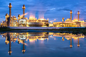 Electric power plant reflection  in blue hour
