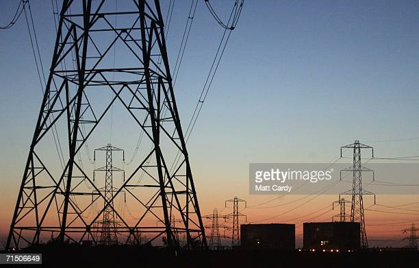Electric pylons linking the Hinkley Point Nuclear Power Station to the National Grid are seen on July 17 2006 in Somerset England The Prime Minister...