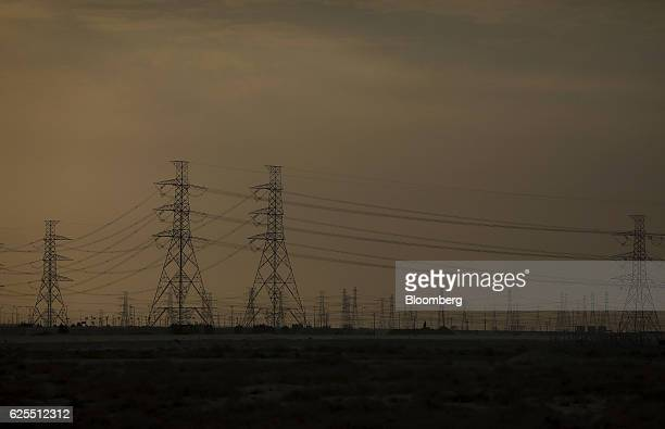Electric pylons stretch across the desert from the Ras Al Khair Industrial City operated by the Saudi Arabian Mining Co in Ras Al Khair Saudi Arabia...
