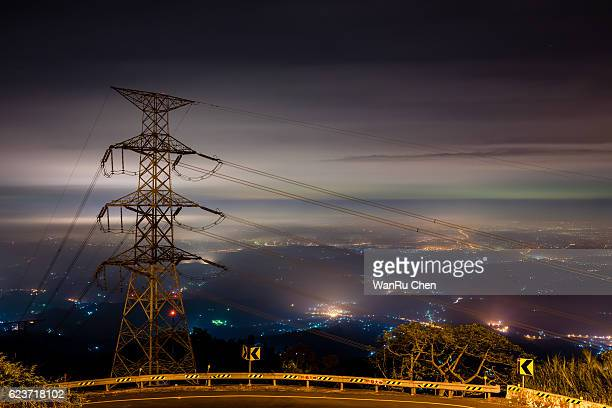 Electric Tower and  view of Yunlin county night