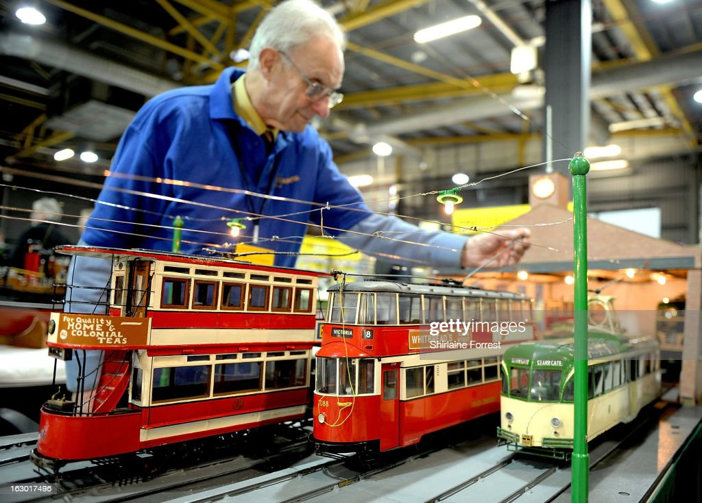Electric tram builder at the Northern Modelling Exhibition at EventCity on March 3, 2013 in Manchester, England.