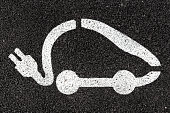 Electric vehicle charging sign applied to the asphalt with white paint