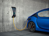 Electric vehicle charging station for home. 3D rendering image. Original design.
