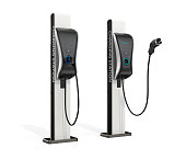 Electric vehicle charging station for public usage. 3D rendering image with clipping path. Original design.
