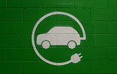 Electric vehicle parking only sign, painted on green brick wall background .