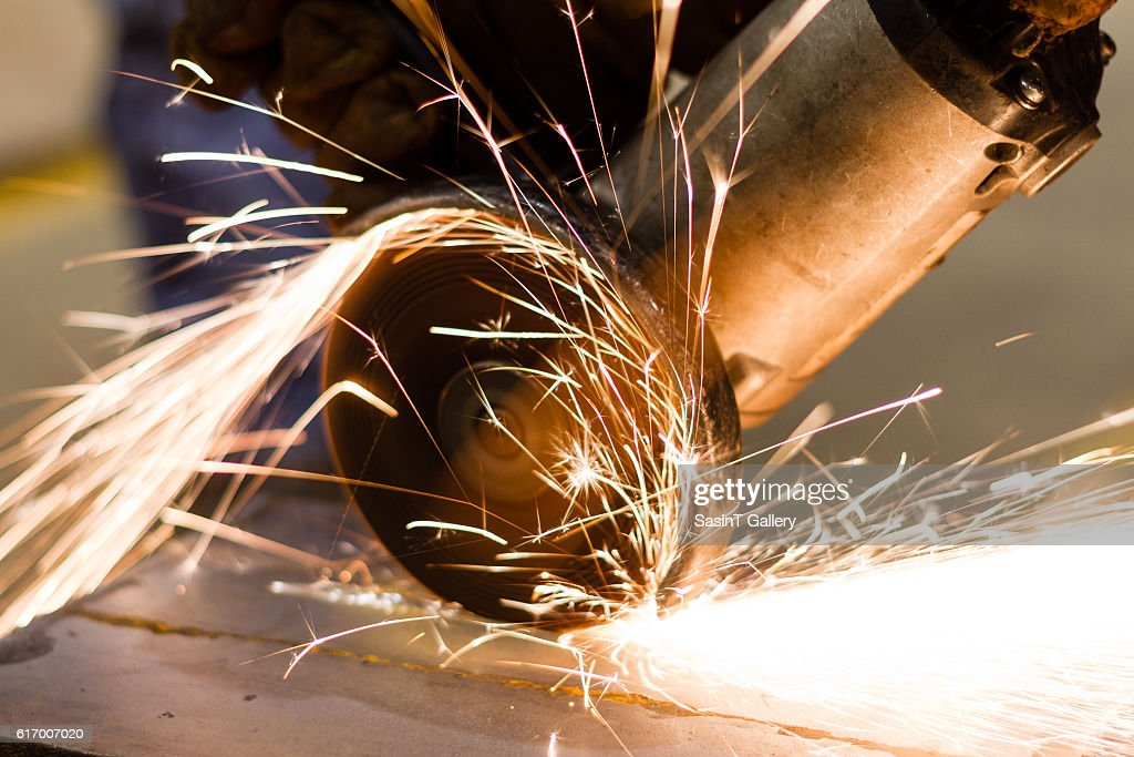 Electric wheel grinding : Stock Photo