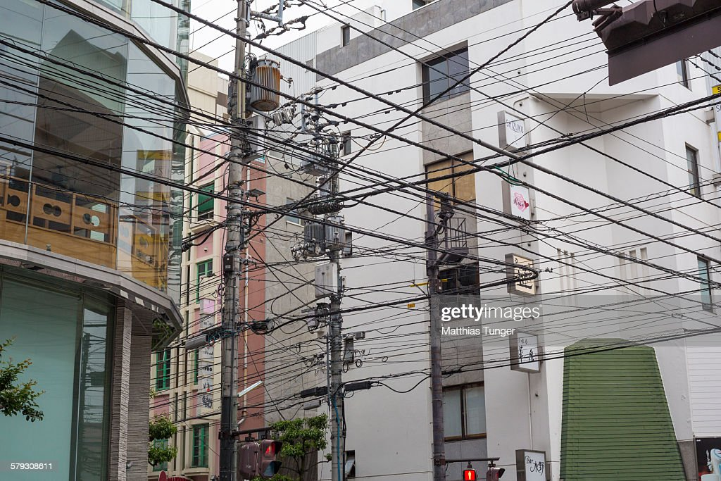 Electric wires in downtown Tokyo