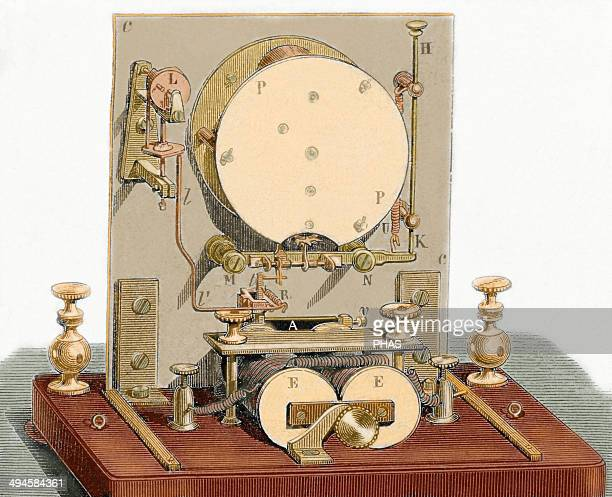 Electrical needle telegraph receiver developed in 1842 by Alphonse Foy and Louis Francois Clement Breguet Back Nineteenth century colored engraving