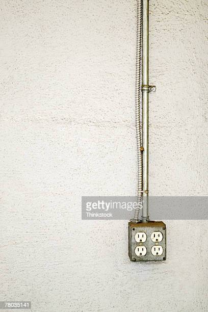 Electrical outlet box on wall