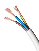 Electrical power cable on white background.