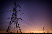 A striking and crisp scene of Electrical Pylons taken at night in a small town called Littleborough in the UK.